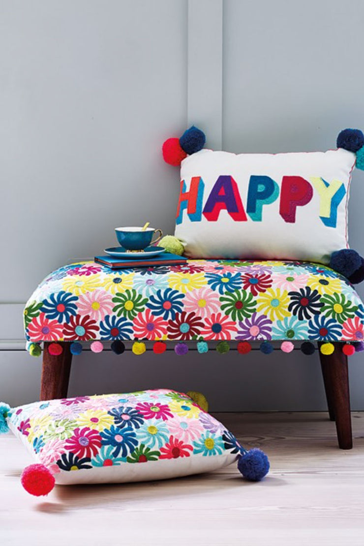 Bombay Duck Embroidered Pinwheel Bench