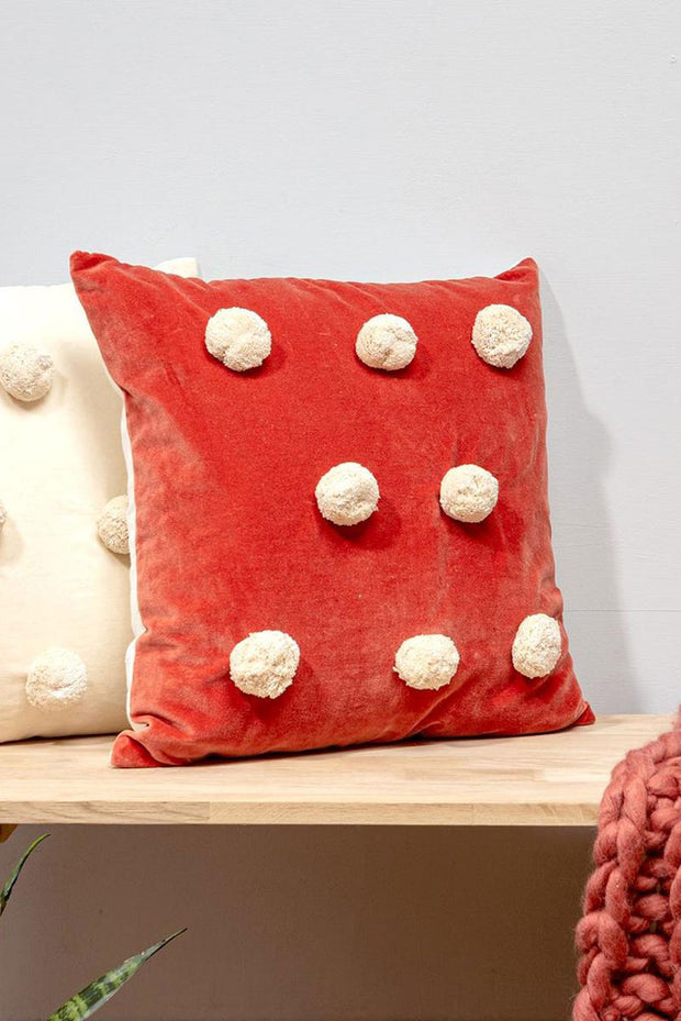 Pom Pom Velvet Cushion - Deep Coral