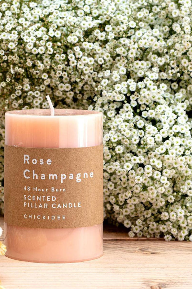 Rose Champagne Pillar Candles - Med