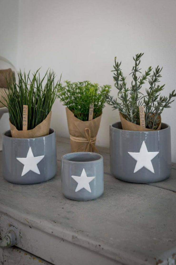 Set of 3 Ceramic Star Pots - Grey
