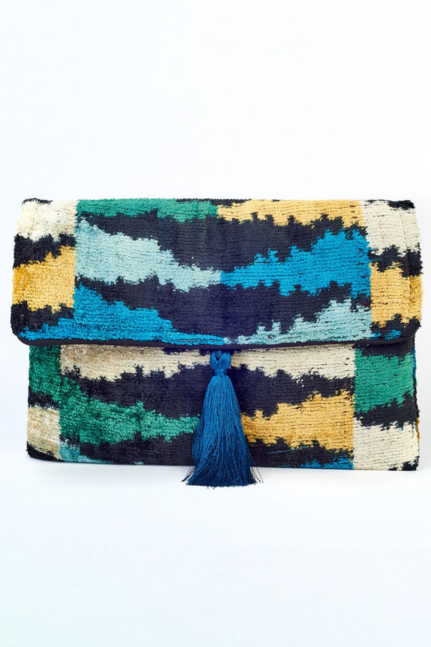 Silk Velvet Tassel Bag - Peacock