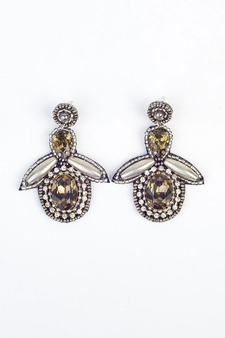 Large Bee Drop Earring - Silver