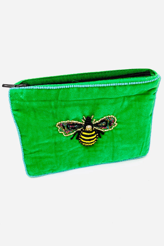 My Doris Green Velvet Beaded Bee Purse - Small