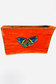 Orange Velvet Butterfly  Purse - Small