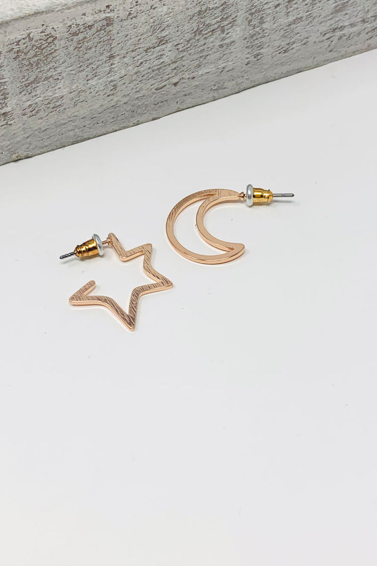 Chiarra Moon And Star Mismacthed Earrings- Rose Gold