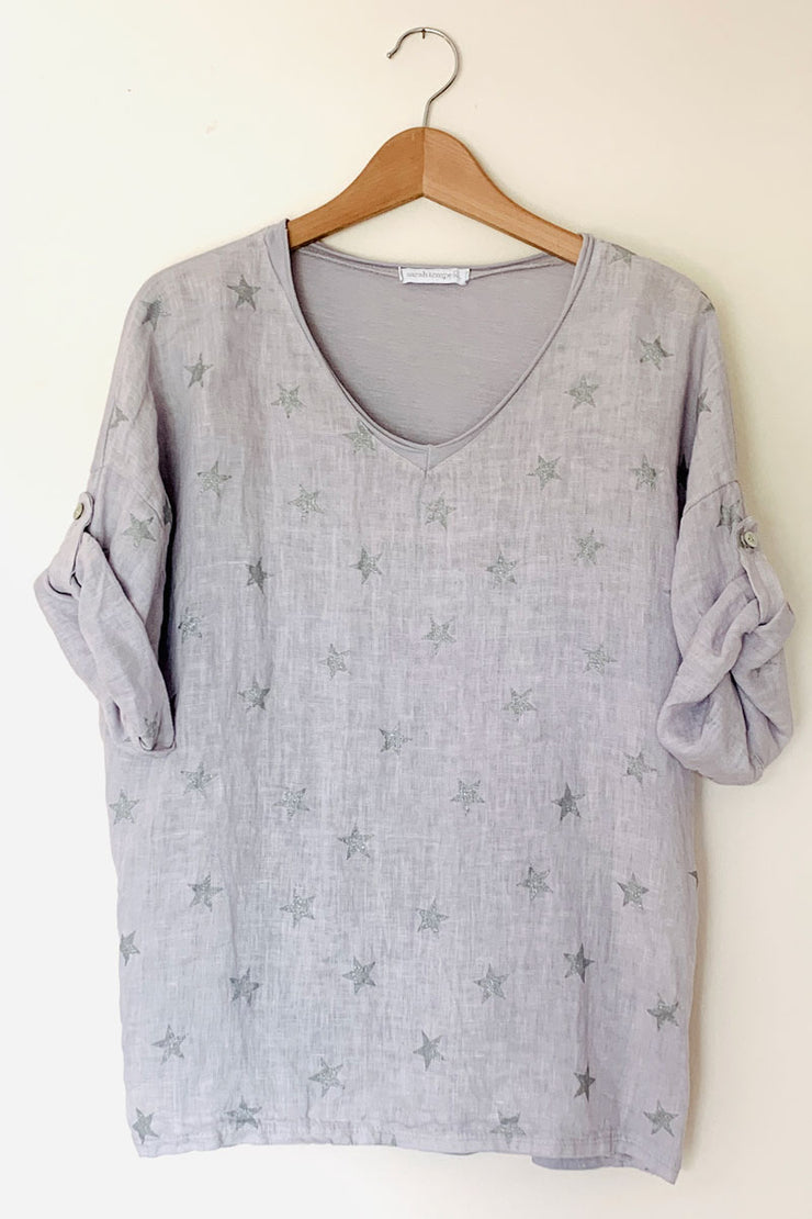 Linen And Jersey Star Top