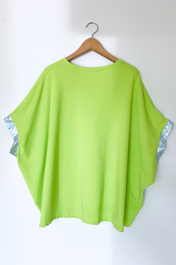 Silver Foil Star Poncho Top - Lime
