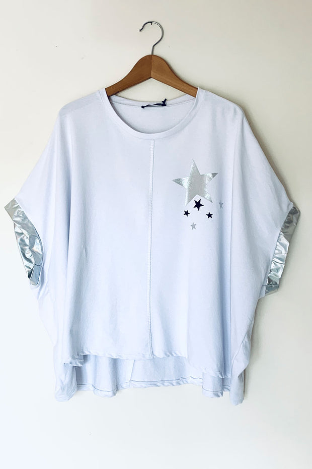 Silver Foil Star Poncho Top - White