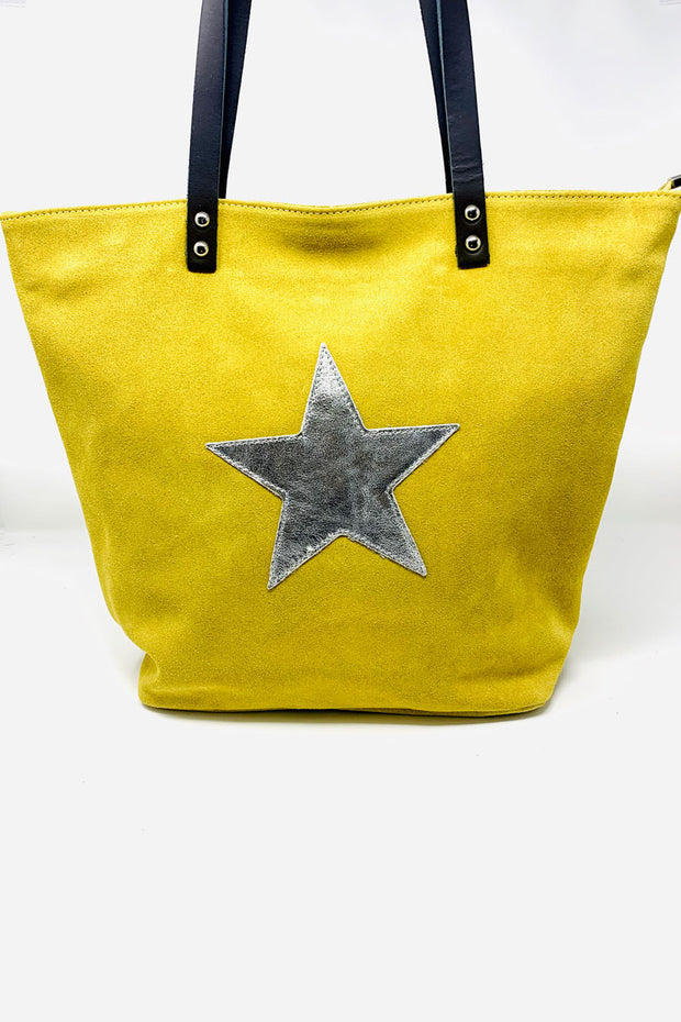 Suede Leather Star Tote Bag