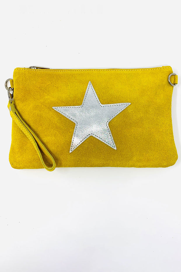 Suede Star Clutch Yellow