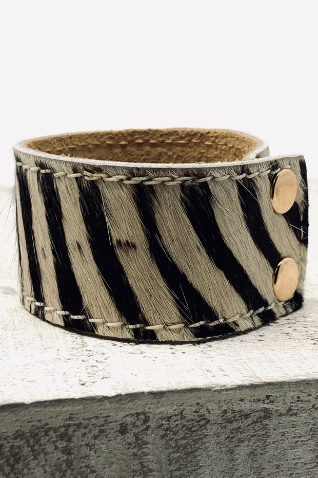 Pony Skin Leather Cuff - Zebra