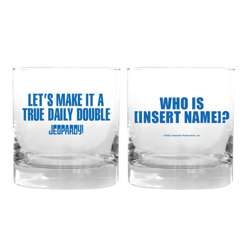 Make it a True Daily Double Blue Personalized Rocks Glass from Jeopardy!