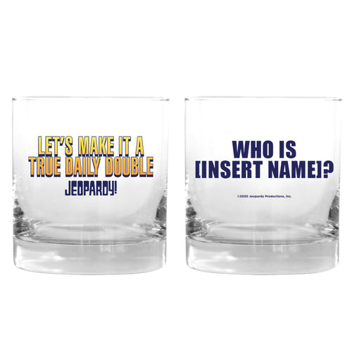 Make it a True Daily Double Yellow Personalized Rocks Glass from Jeopardy!