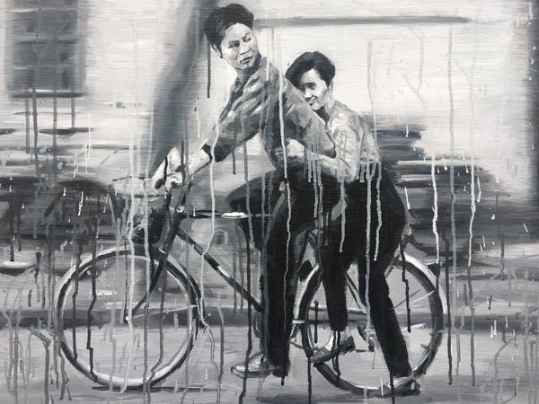 Bicyclists in Black and White by Sheng Qi