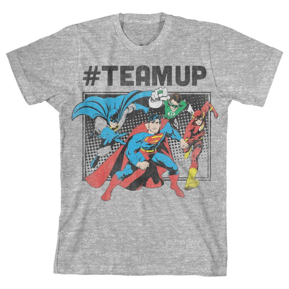 DC Comics Justice League #TeamUp Boys T-Shirt - Superhero Supervillain - United States - superherosupervillain.com