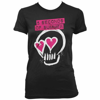 5 Seconds Of Summer Heart Skull Womens Black T-Shirt - Superhero Supervillain - United States - superherosupervillain.com