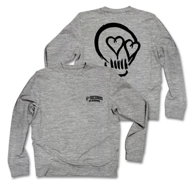 5 Seconds Of Summer Skull Heather Grey Crew Neck Fleece - Superhero Supervillain - United States - superherosupervillain.com