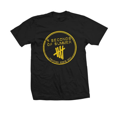 5 Seconds Of Summer Yellow Derp Stamp Black T-Shirt - Superhero Supervillain - United States - superherosupervillain.com