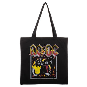 ACDC Highway To Hell Flames Canvas Tote Bag - Superhero Supervillain - United States - Superherosupervillain.com