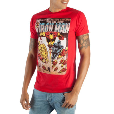 Awesome Marvel Iron Man Comic Book Cover Artwork Bright Red Boxed Cotton T-Shirt - Superhero Supervillain - United States - superherosupervillain.com