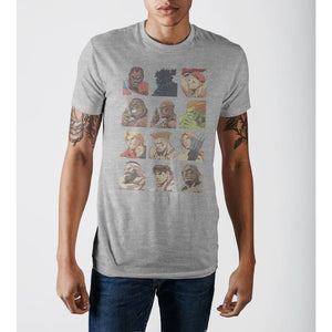 Capcom Street Fighter Vintage Character Grid Grey Graphic Print T-Shirt - Superhero Supervillain - United States - Superherosupervillain.com