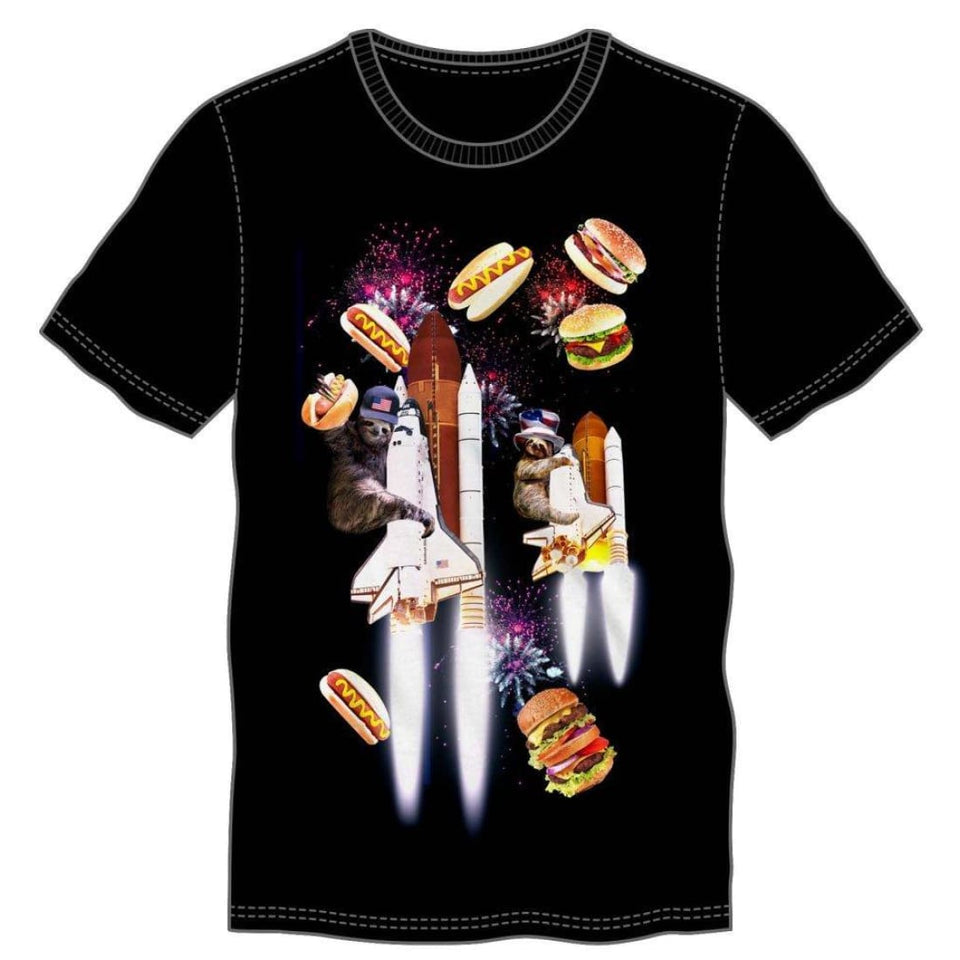 Celebration Sloth Space Shuttle Firework Party With Hamburgers & Hotdogs T-Shirt - Superhero Supervillain - United States - Superherosupervillain.com