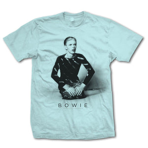 David Bowie Kneeling Light Blue T-Shirt - Superhero Supervillain - United States - superherosupervillain.com