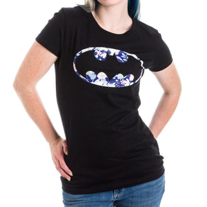 DC Comics Batman Floral Bat Logo Juniors Top T-shirt - Superhero Supervillain - United States - superherosupervillain.com