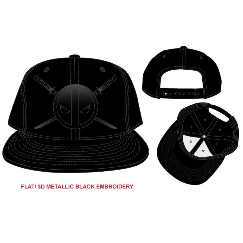 Deadpool and Twin Katanas Cap, Black Hat with Embroidered Design, Marvel Movie - Superhero Supervillain - United States - Superherosupervillain.com