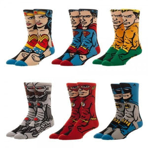 Justice League 6-pk 360 Character Crew Socks - Superhero Supervillain - United States - superherosupervillain.com