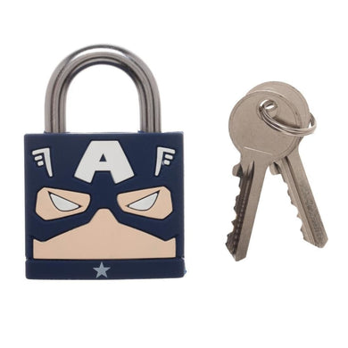 Marvel Comics Captain America Big Face Large PadLock Weather Resistant Lock - Superhero Supervillain - United States - superherosupervillain.com