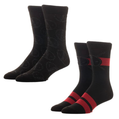 Marvel Set of 2 Deadpool Crew Socks - Superhero Supervillain