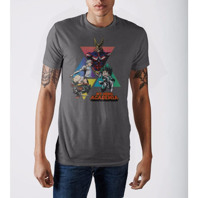 My Hero Academia Triangles Grey T-Shirt - Superhero Supervillain - United States - Superherosupervillain.com