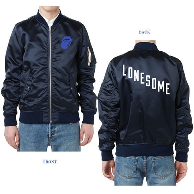 Rolling Stones Blue And Lonesome Navy Bomber Jacket - Superhero Supervillain - United States - Superherosupervillain.com