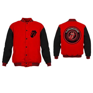 Rolling Stones Tongue Logo Red Black Varsity Jacket - Superhero Supervillain - United States - Superherosupervillain.com