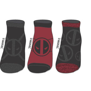 Set of 3 Deadpool Insignia Socks, Marvel Juniors Ankle Sock Set, Comics Movie Print - Superhero Supervillain