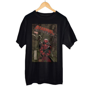 Stylish Marvel Deadpool Black Comic Artwork Graphic Print Boxed Cotton T-Shirt - Superhero Supervillain