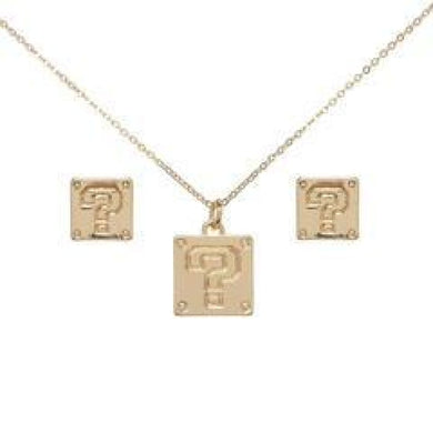 Super Mario Question Mark Necklace and Earrings Set - Superhero Supervillain