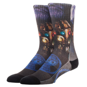 Thanos with the Infinity Gauntlet Sublimated Printed Crew Sock - Superhero Supervillain