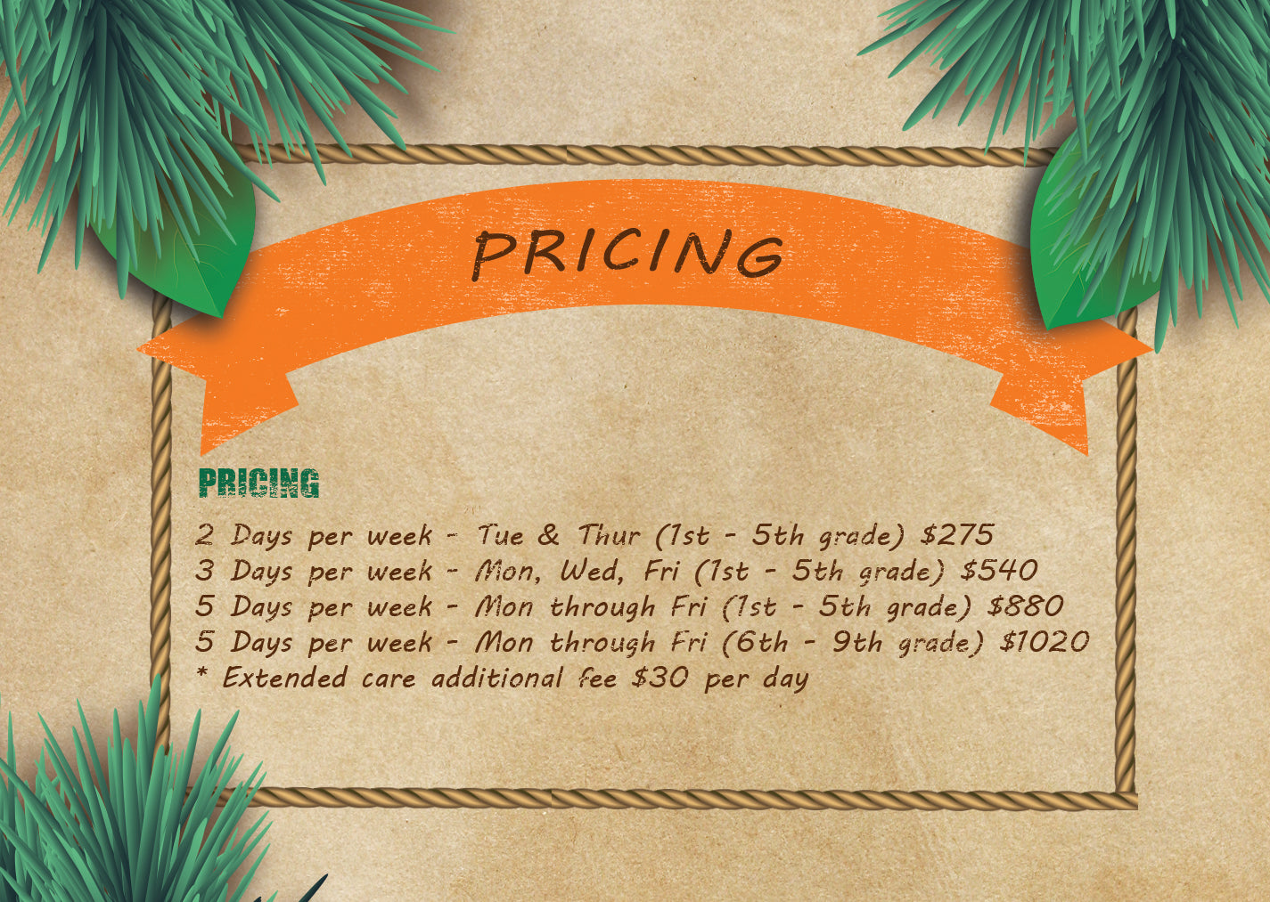 Pricing for summer camp