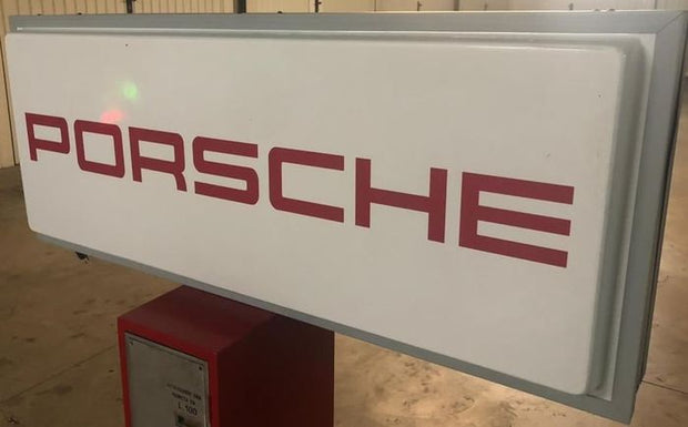 1980s Porsche official dealership double sided illuminated sign