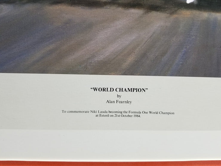 World Champion Framed Print Signed by Lauda, Dennis & Barnard by Alan Fearnley - Formula 1 Memorabilia
