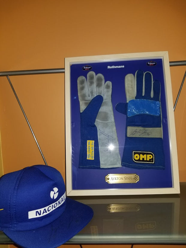 1994 Ayrton Senna Pacific GP race used gloves signed - Formula 1 Memorabilia