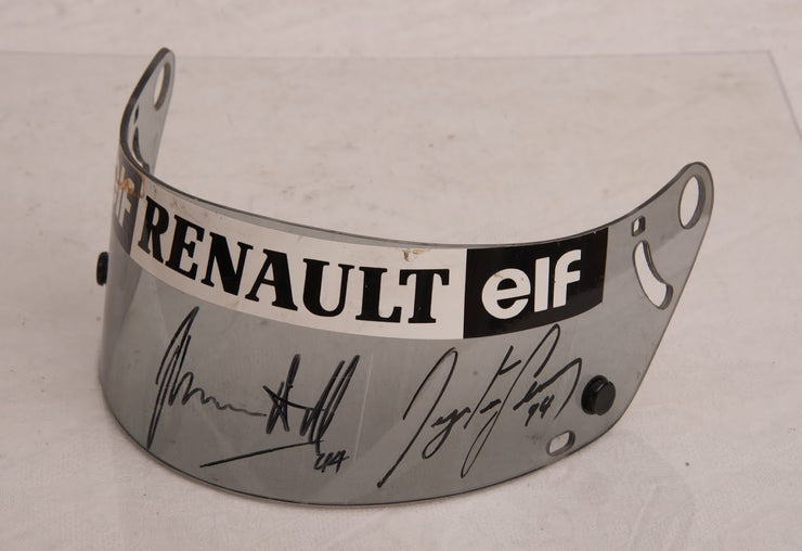 1994 Ayrton Senna test used clear visor double signed by Senna and Damon Hill - Formula 1 Memorabilia