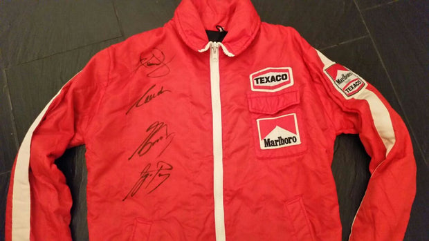 1980's Marlboro Team /  Texaco jacket signed by Senna / Prost / Mansell / Lauda