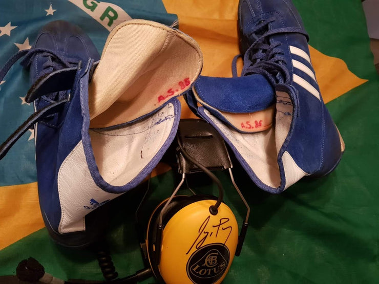 1985 Ayrton Senna race used shoes Signed - First Senna win - Formula 1 Memorabilia