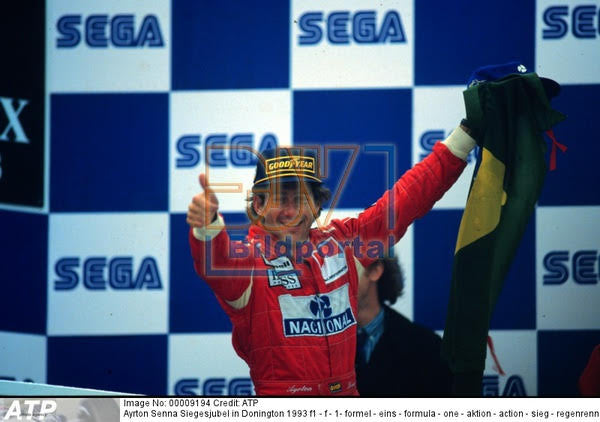 1993 Ayrton Senna podium flag European Grand Prix - Sold - - Formula 1 Memorabilia