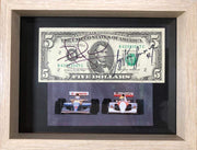 $5 bill signed by Ayrton Senna and Nigel Mansell - Formula 1 Memorabilia