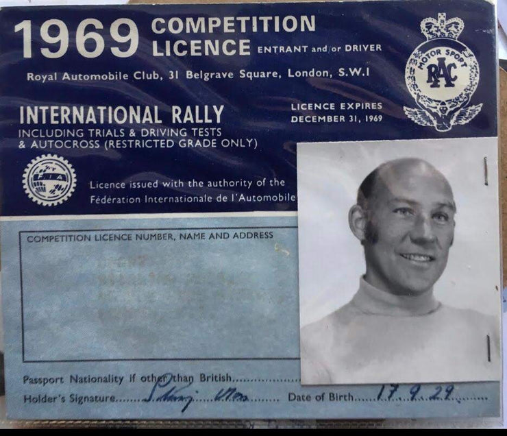 1969 Stirling Moss competition licence - Formula 1 Memorabilia