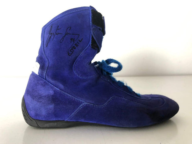 1994 Ayrton Senna test used Sparco shoes Signed